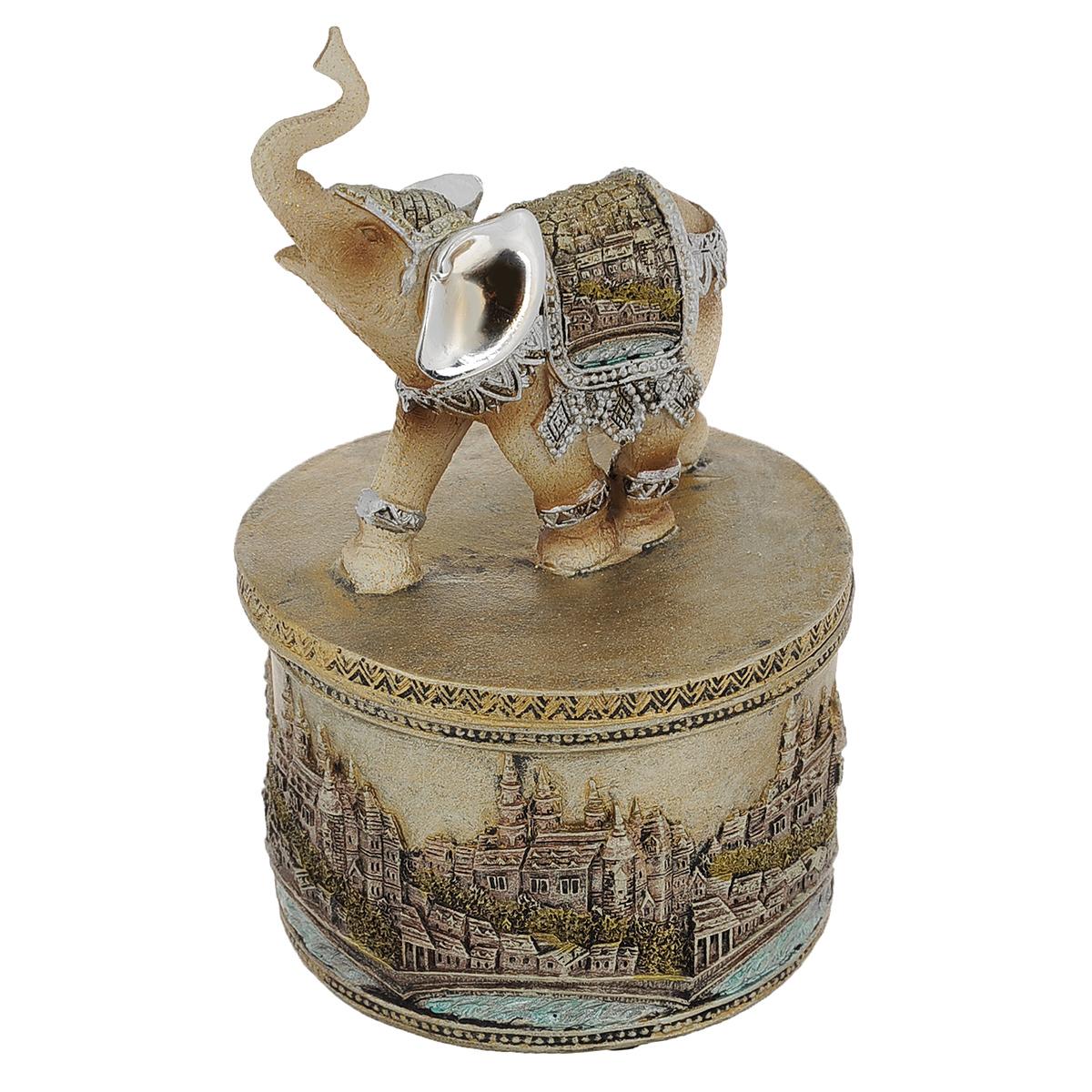 Статуэтка-шкатулка Molento Слон мира, высота 17,5 см549-122Очаровательная статуэтка Molento Слон мира станет оригинальным подарком для всех любителей стильных вещей. Она выполнена из полистоуна в серебристо-золотистых тонах в виде шкатулки, крышка которой оснащена ручкой в форме слона. Изысканный сувенир станет прекрасным дополнением к интерьеру. Вы можете поставить статуэтку в любом месте, где она будет удачно смотреться, и радовать глаз.