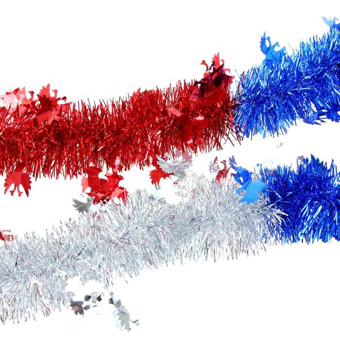 Мишура новогодняя Sima-land, цвет: синий, красный, серебристый, диаметр 7 см, длина 2 м. 279389 мишура новогодняя sima land цвет золотистый красный диаметр 7 см длина 2 м 279377