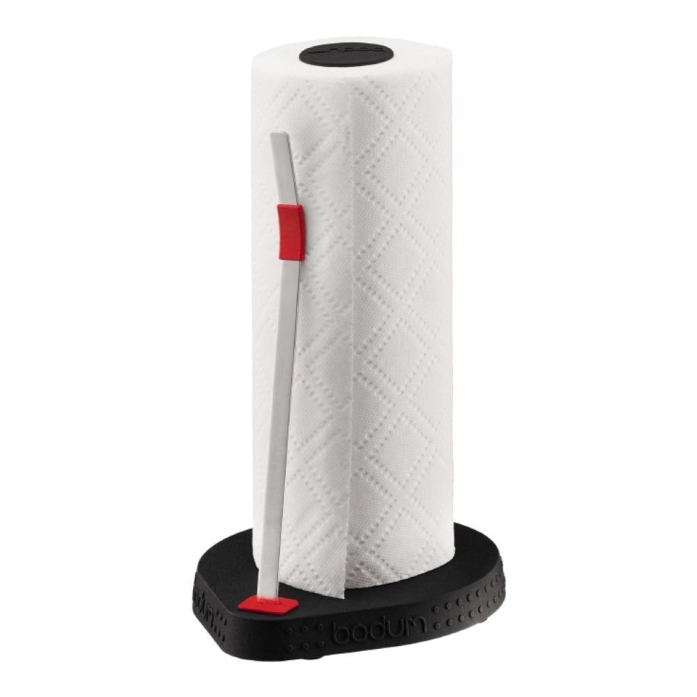 Держатель для бумажных полотенец Bodum Bistro, цвет: черный, высота 26,5 см11232-01Держатель Bodum Bistro предназначен для бумажных полотенец. Он изготовлен из высококачественного пластика и оснащен фиксатором для полотенец. Круглое основание обеспечивает устойчивость держателя. Вы можете установить его в любом удобном месте. Такой держатель для бумажных полотенец станет полезным аксессуаром в домашнем быту и идеально впишется в интерьер современной кухни. Высота держателя: 26,5 см. Диаметр основания держателя: 16 см. УВАЖАЕМЫЕ КЛИЕНТЫ! Обращаем ваше внимание на тот факт, что бумажные полотенца в комплект не входят, а служат для визуального восприятия товара.