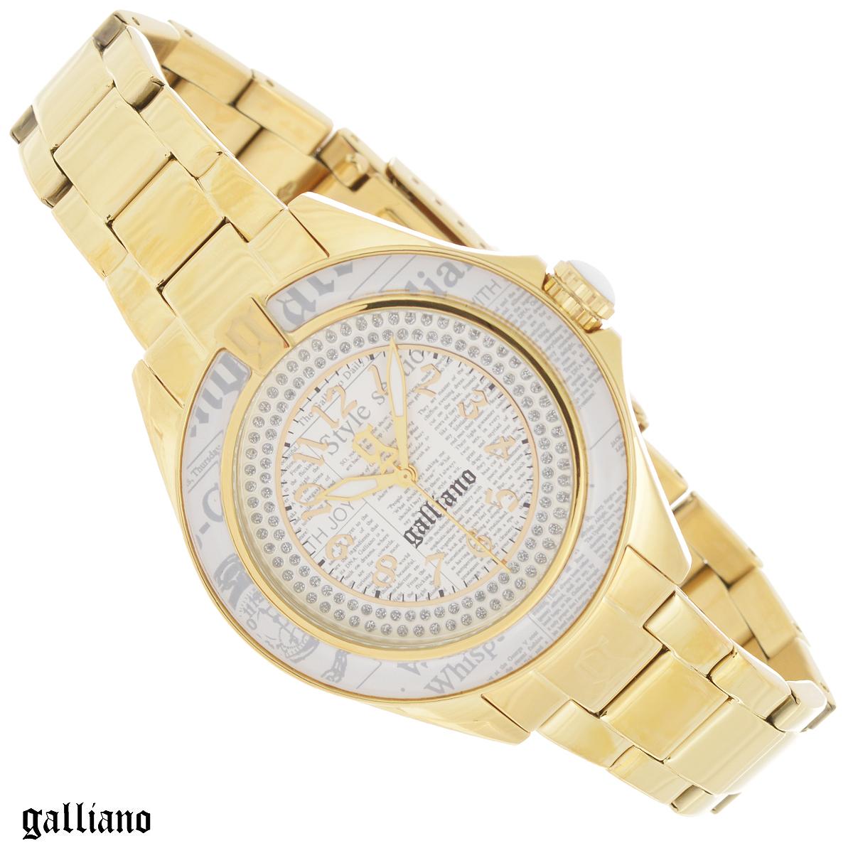 Часы женские наручные Galliano, цвет: золотой. R2553105505R2553105505Наручные женские часы Galliano оснащены кварцевым механизмом. Корпус выполнен из высококачественной нержавеющей стали с PVD-покрытием, безель - из высокотехнологичной смолы. Циферблат с арабскими цифрами декорирован кристаллами и защищен минеральным стеклом. Часы имеют три стрелки - часовую, минутную и секундную. Заводная головка с защитой украшена камнем в форме кабошона. Циферблат и безель украшены принтом газета. Браслет часов выполнен из нержавеющей стали с PVD-покрытием оснащен раскладывающейся застежкой. Часы укомплектованы паспортом с подробной инструкцией. Часы Galliano благодаря своему великолепному дизайну и качеству исполнения станут главным акцентом вашего образа. Характеристики: Диаметр циферблата: 2,9 см. Размер корпуса: 3,9 см х 3,9 см х 1 см. Длина браслета (с корпусом): 24,5 см. Ширина браслета: 1,5 см.