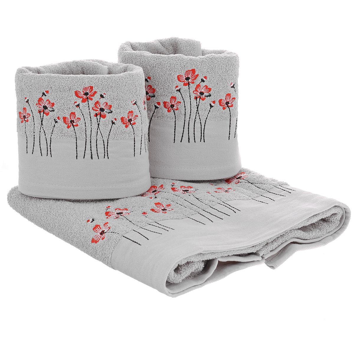 Набор махровых полотенец Красные цветы, цвет: серый, 3 штBailixin7Набор Красные цветы состоит из трех полотенец разного размера, выполненных из натуральной махровой ткани. Полотенца украшены изящной вышивкой в виде цветов. Мягкие и уютные, они прекрасно впитывают влагу и легко стираются. Такой набор подарит массу положительных эмоций и приятных ощущений. Рекомендации по уходу: - не следует стирать вместе с изделиями из полиэстра или другого синтетического материала, - стирать при температуре 40-50°С, - химчистка запрещена, - не рекомендуется отбеливать, - сушить в деликатном режиме. Размер полотенец: 50 см х 90 см (2 шт), 70 см х 140 см (1 шт).