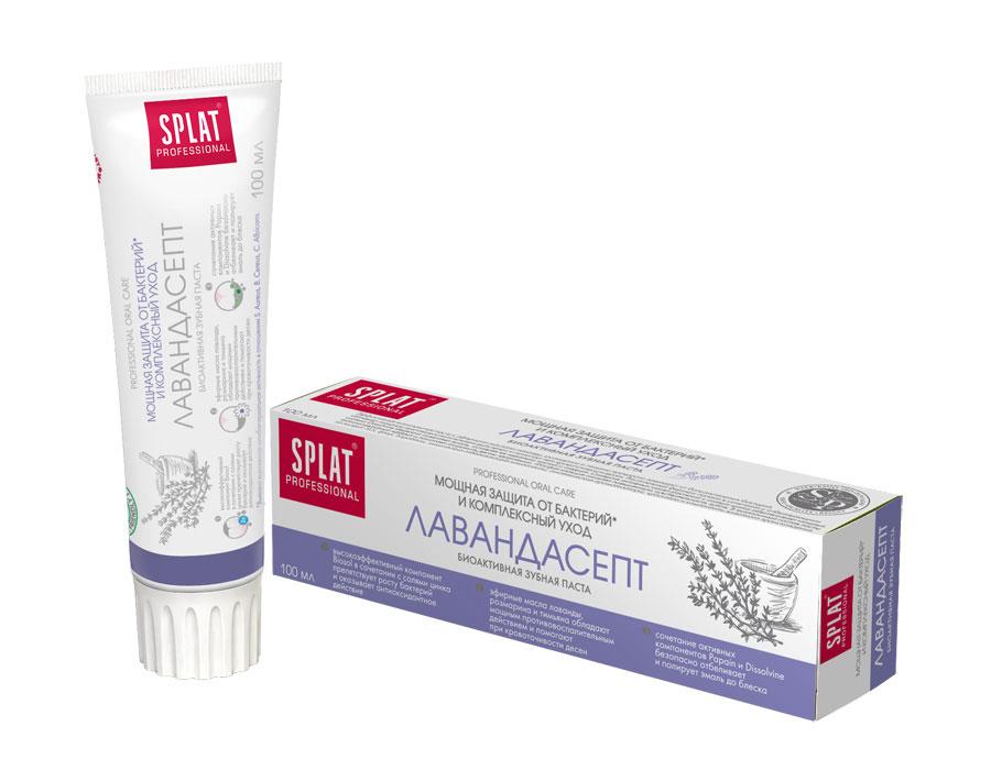 Splat Professional Зубная паста Лавандасепт, биоактивная, 100 млЛВ-183Мощная защита от бактерий и комплексный уход. Эффективная комплексная паста с эфирными маслами лаванды, розмарина и тимьяна прекрасно защищает от болезнетворных бактерий, обладает мощным противовоспалительным действием и помогает при кровоточивости десен. Активные компоненты: Фосфат кальция, Dissolvine, Papain, Biosol, цитрат цинка, эфирное масло лаванды, эфирное масло тимьяна, эфирное масло розмарина испанского. Растительный фермент папаин в сочетании с отбеливающими солями Dissolvinе бережно осветляет эмаль, оставляя ее идеально чистой и гладкой. Синергия активных масел растений с солями цинка обеспечивает мощный антиоксидантный эффект и помогает сохранить десны здоровыми. Фосфат кальция снижает повышенную чувствительность зубов. Клинически доказано*: - противовоспалительная эффективность - 73,8%. - кровоостанавливающая эффективность - 74,4%. - антиоксидантная эффективность - 94,7%. - снижение повышенной чувствительности - 60,2%. ...