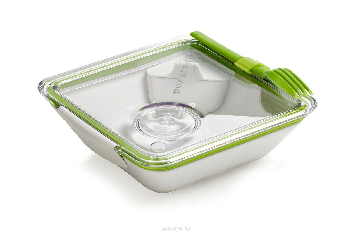 Ланч-бокс Black+Blum Box Appetit, цвет: белый, зеленый, 19 х 19 х 6 смBA001Ланч-бокс Black+Blum Box Appetit изготовлен из высококачественного пищевого пластика, устойчивого к нагреванию. Ланч-бакс имеет квадратную форму. Оснащен прозрачной вакуумной крышкой, которая закрывается на две защелки. Благодаря силиконовой прослойке, крышка плотно закрывается, обеспечивая герметичность и дольше сохраняя продукты свежими. В комплекте имеется соусник, контейнер для салатов или фруктов и вилка, которая крепится к крышке. Благодаря дополнительным контейнерам, еда из отделений не перемешивается между собой. Поэтому в одном ланч-боксе можно хранить вторые блюда, соус, фрукты или десерт. Благодаря компактным размерам, ланч-бокс поместится даже в дамскую сумочку. Можно использовать в микроволновой печи и мыть в посудомоечной машине.