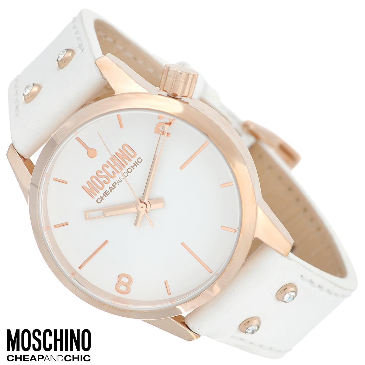 Часы женские наручные Moschino, цвет: белый, золотой. MW0280MW0280Наручные часы от известного итальянского бренда Moschino - это не только стильный и функциональный аксессуар, но и современные технологи, сочетающиеся с экстравагантным дизайном и индивидуальностью. Часы Moschino оснащены кварцевым механизмом. Корпус выполнен из высококачественной нержавеющей стали с PVD-покрытием. Циферблат с отметками и арабскими цифрами защищен минеральным стеклом. Часы имеют три стрелки - часовую, минутную и секундную. Ремешок часов выполнен из натуральной кожи, оснащен классической застежкой и декорирован стразами. Часы упакованы в фирменную металлическую коробку с логотипом бренда. Часы Moschino благодаря своему уникальному дизайну отличаются от часов других марок своеобразными циферблатами, функциональностью, а также набором уникальных технических свойств. Каждой модели присуща легкая экстравагантность, самобытность и, безусловно, великолепный вкус. Характеристики: Диаметр циферблата: 3,3 см. ...