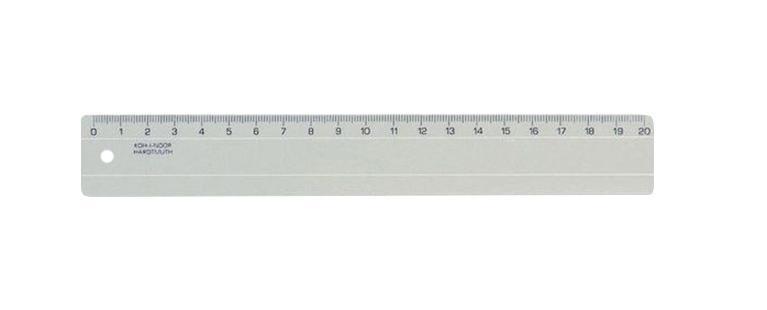 Линейка Koh-i-Noor, 20 см, цвет: дымчатыйFS-54103Классическая линейка Koh-i-Noor выполнена из пластика дымчатого цвета с четкой миллиметровой шкалой делений до 20 сантиметров. Характеристики: Длина линейки: 20 см.