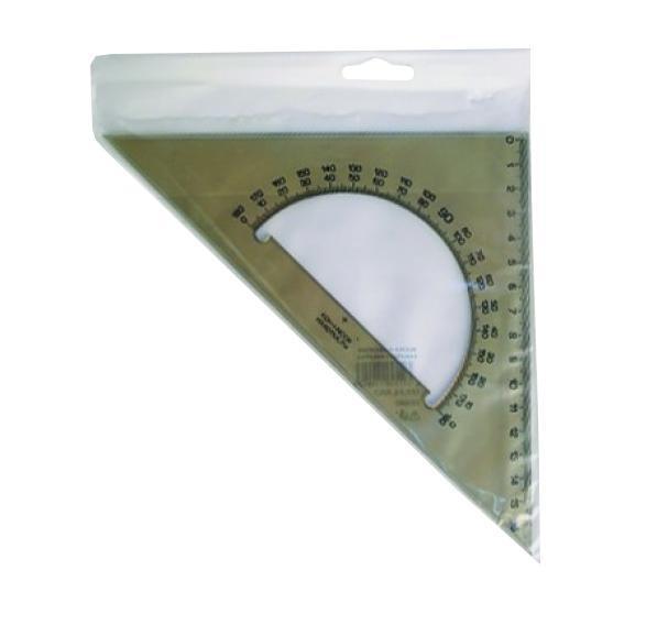 Линейка-треугольник Koh-i-Noor, с транспортиром, цвет: дымчатыйFS-54103Линейка-треугольник Koh-i-Noor на 16 сантиметров и углами на 90°, 45° и 45° выполнена из прозрачного пластика дымчатого цвета с ровной четкой миллиметровой шкалой делений. В центре линейки находится транспортир. Характеристики: Размер линейки: 17,5 см х 17,5 см.