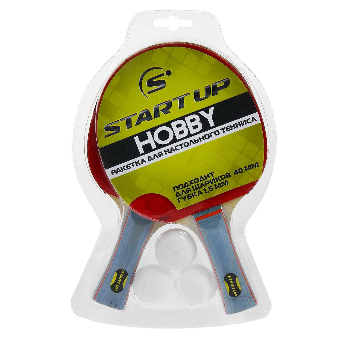 Набор для настольного тенниса Start Up, 5 предметов230925Набор для настольного тенниса Start Up включает в себя 2 ракетки и 3 белых мячика, предназначен для начинающих игроков и любителей. Основание ракетки выполнено из дерева, накладка из резины толщиной 1,5 мм. Шары диаметром 40 мм. Настольный теннис - спортивная игра, основанная на перекидывании мяча ракетками через игровой стол с сеткой, цель которой - не дать противнику отбить мяч. Игра в настольный теннис развивает концентрацию внимания, ловкость и координацию.