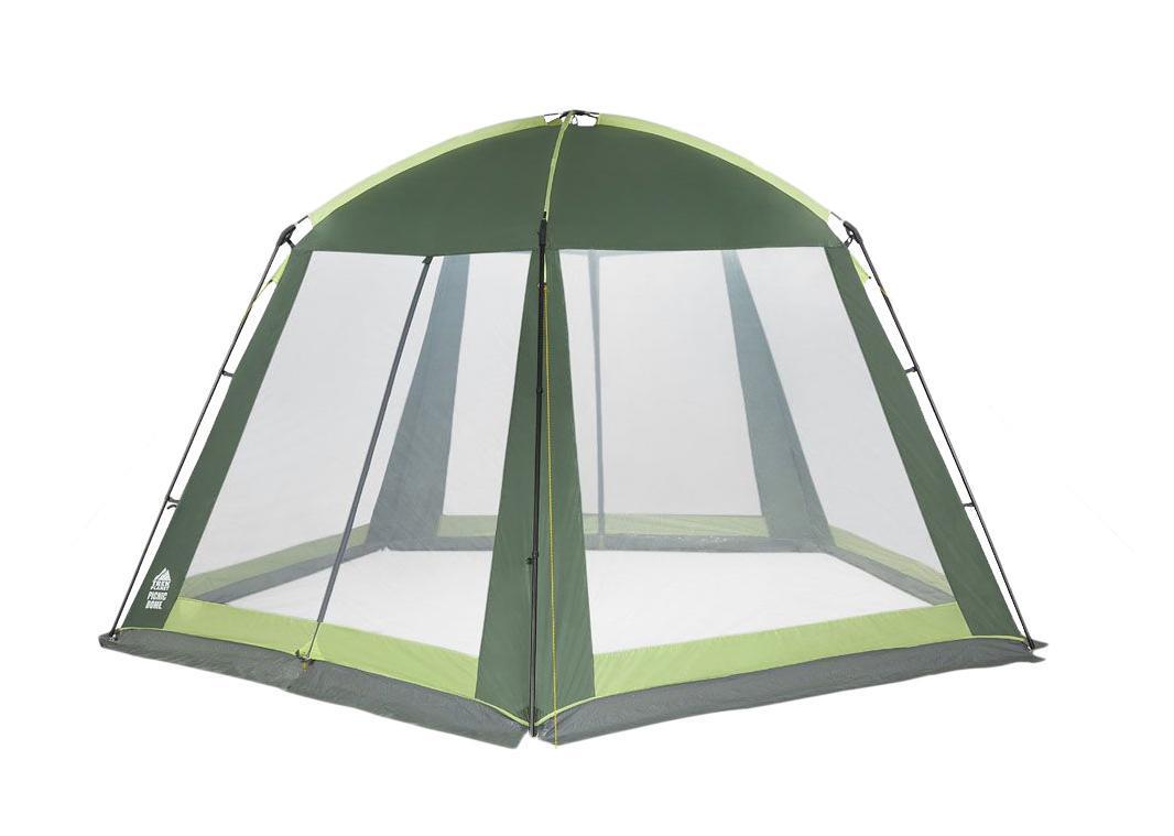 Шатер-тент TREK PLANET PICNIC DOME, пятиугольной формы, 395 см х 410 см х 215 см, цвет: зеленый, светло-зеленый70255Универсальный шатер пятиугольной формы TREK PLANET Picnic Dome с огромным внутренним помещением, отлично подойдет как для дачи, в качестве беседки или полевого навеса. Особенности шатра: - большие москитные сетки со всех сторон; - легко собирается и разбирается; - устойчив на ветру; - два входа в шатер; - двери из москитной сетки с молнией по центру, удобно сворачиваются по бокам; - каркас: боковые стойки из стали, потолочные дуги из прочного стеклопластика; - прочные и удобные адаптеры для дуг со стойками; - защитный полог по всему периметру защищает от насекомых. Палатка упакована в сумку-чехол с ручками, застегивающуюся на застежку-молнию. Размер в сложенном виде 20 см х 68 см.