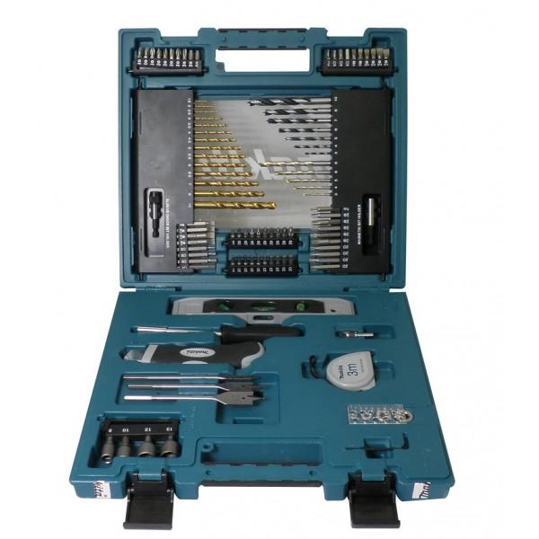 Набор оснастки Makita, 104 предмета164766Набор оснастки Makita предназначен для работы с резьбовыми соединениями, а также для строительных работ. Инструменты выполнены из высококачественной стали. Состав набора: Сверла перьевые: 8 мм, 15 мм, 20 мм. 4 ограничителя глубины. Инструмент для измерения диаметра сверл. Зенкер. Сверла по бетону: 3 мм, 4 мм, 5 мм, 6 мм, 8 мм. Сверла по дереву: 3 мм, 4 мм, 5 мм, 6 мм, 7 мм, 8 мм, 10 мм. Сверла по металлу: 1,5 мм, 2 мм, 2,5 мм, 3 мм, 3,5 мм, 4 мм, 4,5 мм, 5 мм, 5,5 мм, 6 мм, 6,5 мм, 7 мм, 8 мм, 10 мм. Рулетка. Нож со сменными лезвиями. Уровень. Отвертка. Биты 25 мм: PZ1 x 2, PZ2 x 3, PZ3 x 3, PZ4 x 2, T20 x 3, T25 x 3, T30 x 2, T40 x 2, PH1 x 2, PH2 x 3, PH3 x 3, PH4 x 2, H3, H4, H5, H6, SL1 x 2, SL1,2 x 2, SL1,6. Биты 50 мм: SL1, SL1,2 x 2, SL1,6, H3, H4, H5, H6, T40, T30, T25, T20, PZ4, PZ3, PZ2, PH4, PH3, PH2.