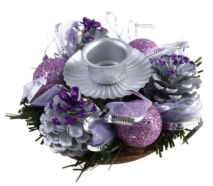Подсвечник Sima-land Шишки, цвет: фиолетовый, серебристый. 542651542651