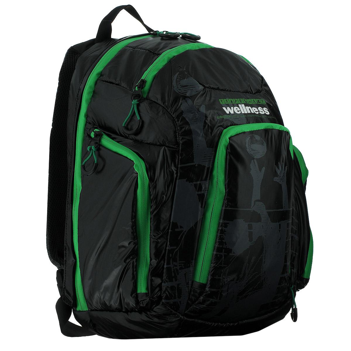 Рюкзак молодежный Grizzly, цвет: черный, зеленый. RU-417-1BP-303 BKСтильный молодежный рюкзак Grizzly выполнен из нейлона черного цвета и оформлен оригинальным принтом. Рюкзак оснащен одним большим отделением, закрывающимся на застежку-молнию. На передней стенке расположено 2 кармана, закрывающихся на застежки-молнии. По бокам 2 объемных кармана с застежками-молниями. Внутри расположен карман. Рюкзак оснащен лямками, мягкой спинкой и текстильной ручкой для удобной переноски.