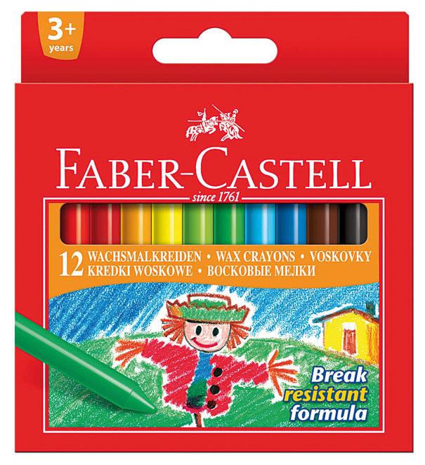 Восковые карандаши Faber-Castell, 12 цветов141012Восковые карандаши Faber-Castell прекрасно подойдут для развития детского творчества. Карандаши изготовлены на основе полимерных восков, натуральных наполнителей и высококачественных пигментов. Они не пачкаются, прочные, без запаха. Карандаши отличаются яркими и насыщенными цветами, позволяют проводить мягкие и ровные штрихи. Цвета: розовый, красный, темно-красный, оранжевый, желтый, светло-зеленый, зеленый, голубой, синий, коричневый, черный, белый. Восковые карандаши помогут ребенку развить творческие способности, воображение, цветовосприятие, мелкую моторику рук, усидчивость и аккуратность. Порадуйте своего ребенка таким восхитительным подарком! В комплекте: 12 восковых карандаша.