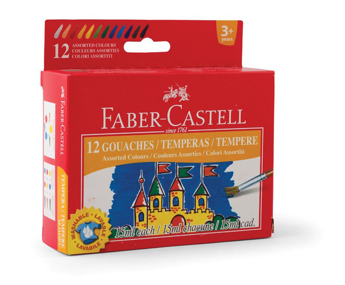 Гуашь Faber-Castell, 12 цветов161112Гуашь Faber-Castell предназначена для декоративно-оформительских работ и творчества детей. В набор входят краски 12 цветов: белый, розовый, красный, оранжевый, желтый, светло-зеленый, зеленый, синий, голубой, фиолетовый, коричневый, черный. Они легко наносятся на бумагу, картон и грунтованный холст. При высыхании приобретают матовую, бархатистую поверхность. Гуашевые краски, имея оптимальную цветовую палитру, обладают оптимальной степенью укрывистости. При высыхании краски можно развести водой. С такими красками ваш малыш сможет раскрыть свой художественный талант и создать свои собственные уникальные шедевры.