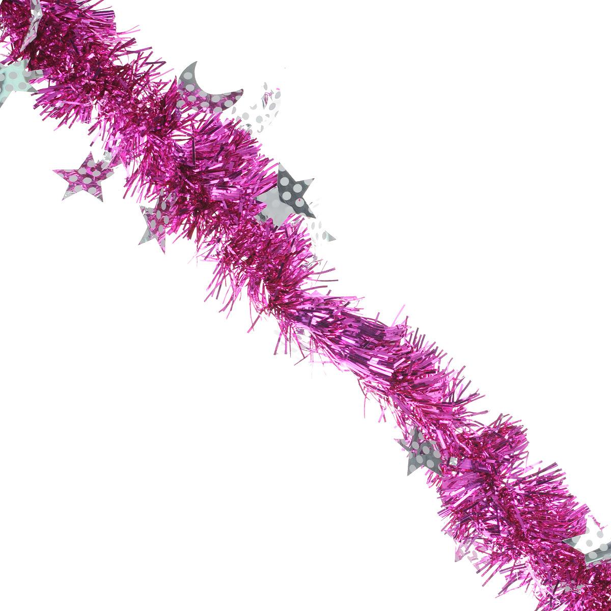 Мишура новогодняя Sima-land, цвет: серебристый, фиолетовый, диаметр 6 см, длина 2 м. 825974 мишура новогодняя sima land цвет золотистый красный диаметр 7 см длина 2 м 279377