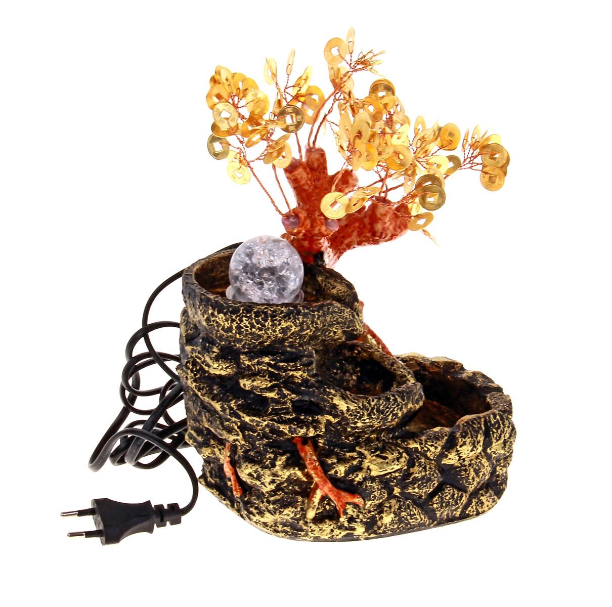 Фонтан Sima-land Монетное дерево140538Фонтан Sima-land Монетное дерево, изготовленный из полистоуна, украсит интерьер любого помещения. Изделие выполнено в виде источника рядом с деревом бонсай с листьями в виде монет. В центр источника помещается стеклянный шар, который подсвечивается светодиодами и левитирует над водой при включении фонтана. По древнекитайскому учению Фен-Шуй фонтаны являются символами жизненной энергии, изобилия. В комнате их нужно размещать в зоне карьеры и удачи. Тогда фонтаны привлекут в ваш дом богатство, материальный достаток. Даже если вы не являетесь поклонником Фен-Шуй, фонтаны наполнят помещение тихим, мелодичным журчанием воды, что благотворно скажется на вашей нервной системе и позволит снять стресс. Каждому хозяину периодически приходит мысль обновить свою квартиру, сделать ремонт, перестановку или кардинально поменять внешний вид каждой комнаты. Фонтан - привлекательная деталь в обстановке, которая поможет воплотить вашу интерьерную идею,...