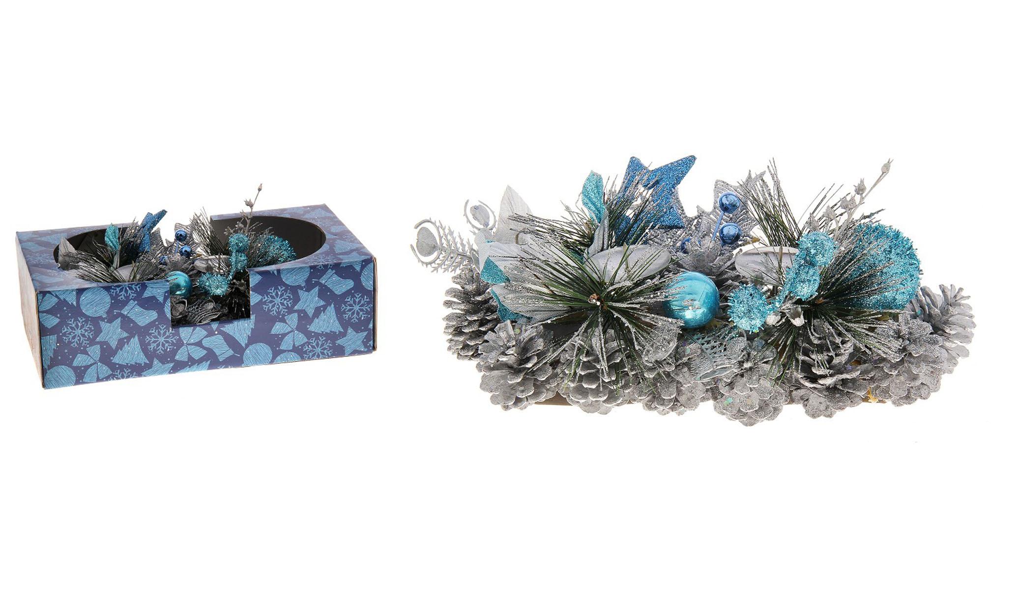Подсвечник Sima-land Шишки, на 2 свечи, цвет: голубой, серебристый. 717988717988