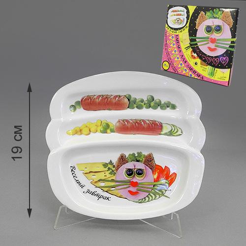 Блюдо для сосисок LarangE Веселый завтрак с кошечкой, 20,5 см х 19 см553-205Блюдо для сосисок LarangE Веселый завтрак с кошечкой изготовлено из высококачественной керамики. Изделие украшено изображением кошечки и еды. Тарелка имеет три отделения: 2 маленьких отделения для сосисок и одно большое отделение для яичницы или другого блюда. Можно использовать в СВЧ печах, духовом шкафу и холодильнике. Не применять абразивные чистящие вещества.