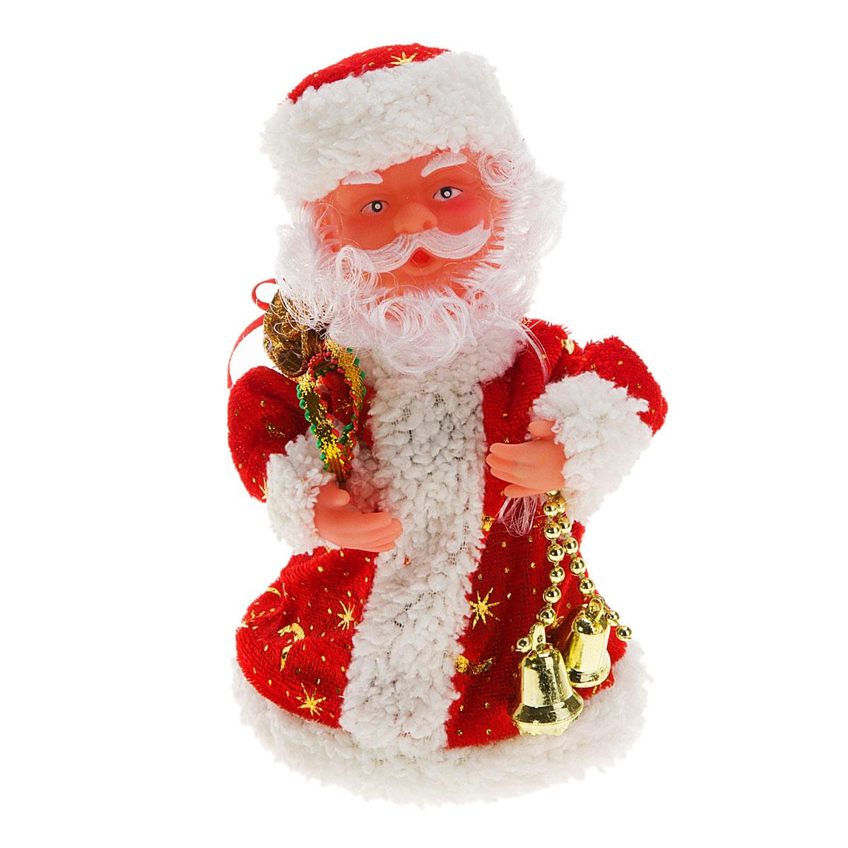 Новогодняя декоративная фигурка Sima-land Дед Мороз, анимированная, высота 18 см. 827789827789Новогодняя декоративная фигурка выполнена из высококачественного пластика в виде Деда Мороза. Дед Мороз одет в шубу с опушкой. На голове колпак в цвет шубы. В одной руке Дед Мороз держит мешок с подарками, а в другой - связку колокольчиков. Особенностью фигурки является наличие механизма, при включении которого играет мелодия, кукла начинает кружиться и двигаться, шевеля руками и головой. Его добрый вид и очаровательная улыбка притягивают к себе восторженные взгляды. Декоративная фигурка Дед Мороз подойдет для оформления новогоднего интерьера и принесет с собой атмосферу радости и веселья.