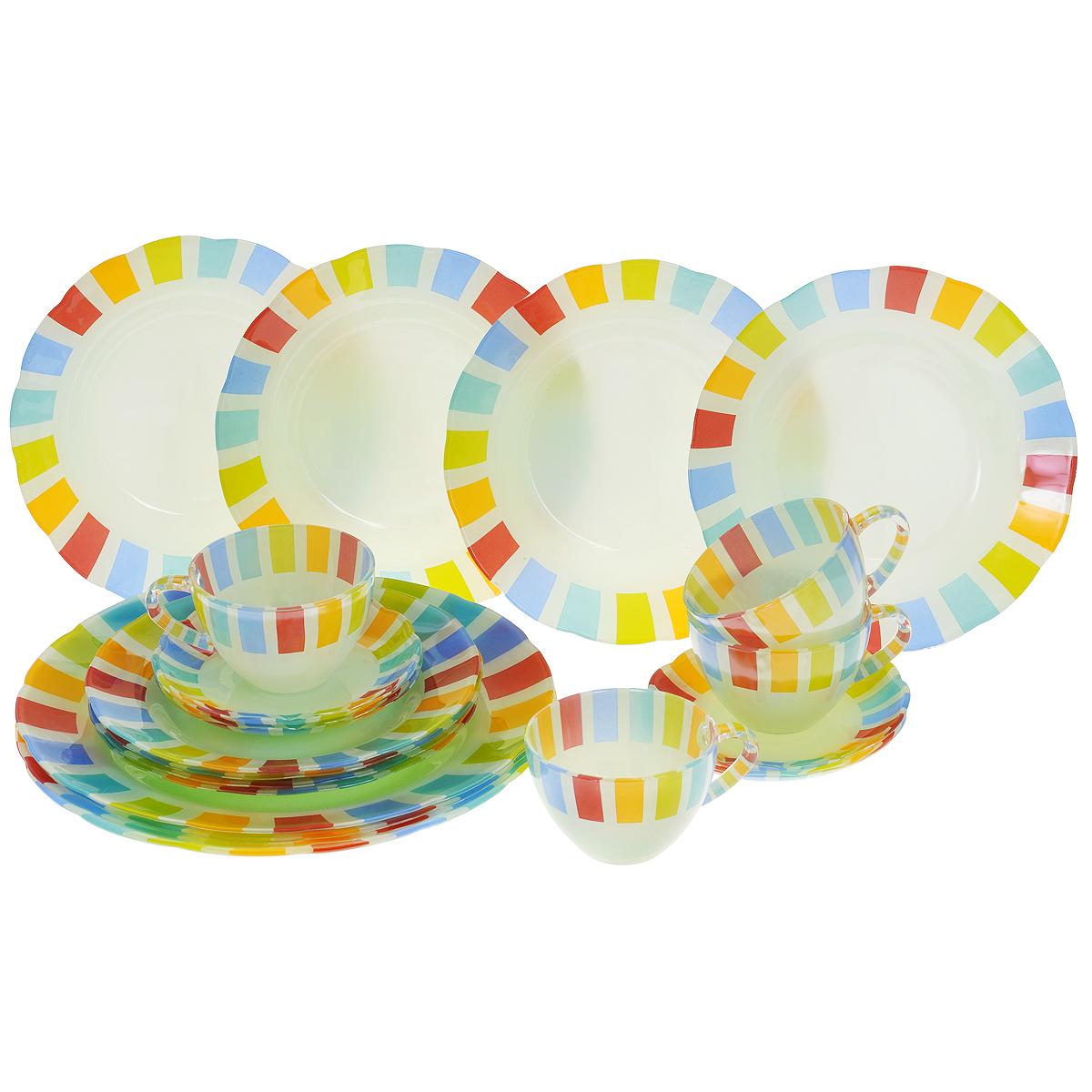 Набор посуды Радуга, 20 предметов115510Набор посуды Радуга состоит из 4 суповых тарелок, 4 обеденных тарелок, 4 десертных тарелок, 4 блюдец, 4 чашек. Изделия выполнены из высококачественного стекла и оформлены яркой разноцветной каймой. Столовый набор эффектно украсит стол к обеду, а также прекрасно подойдет для торжественных случаев.