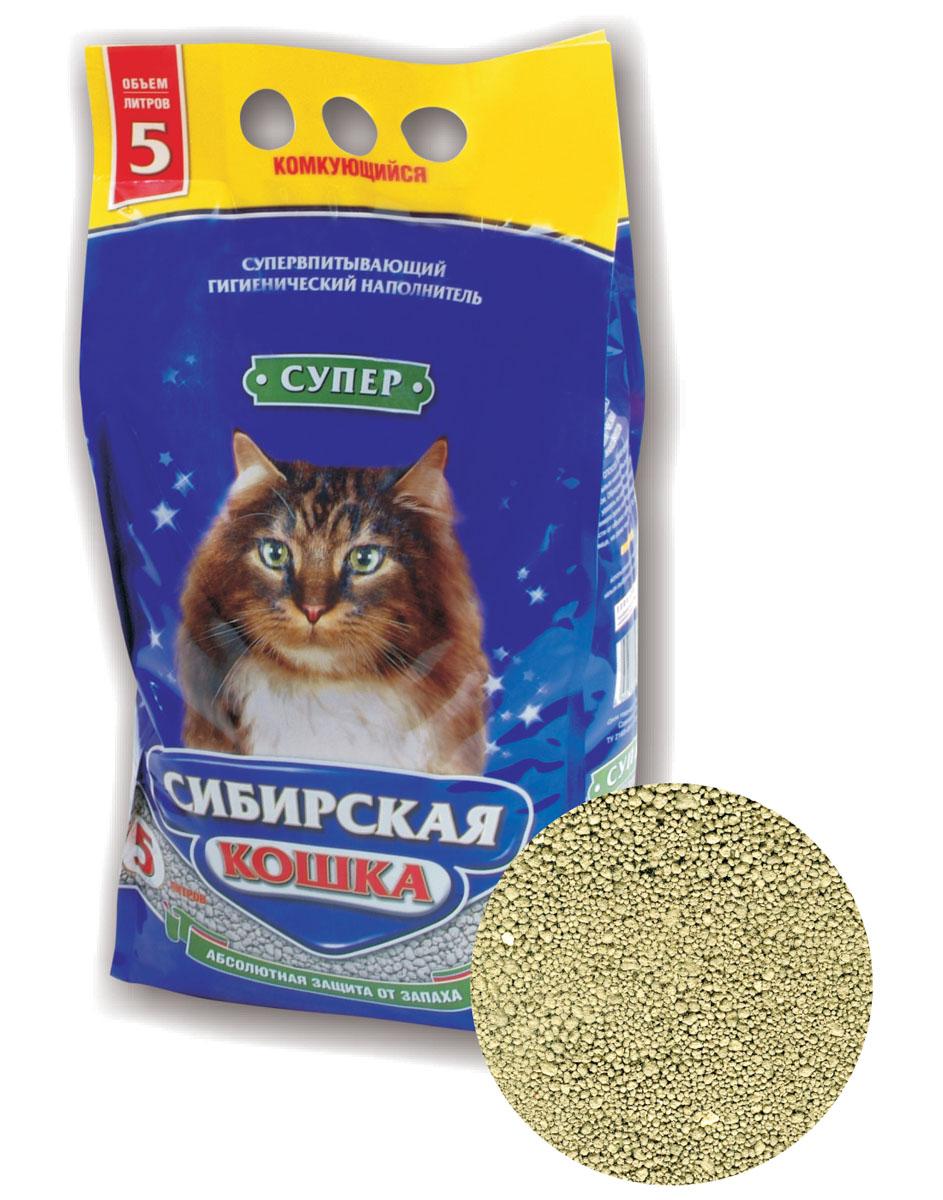 """Наполнитель для кошачьих туалетов Сибирская Кошка """"Супер"""", комкующийся, 5 л 0176"""