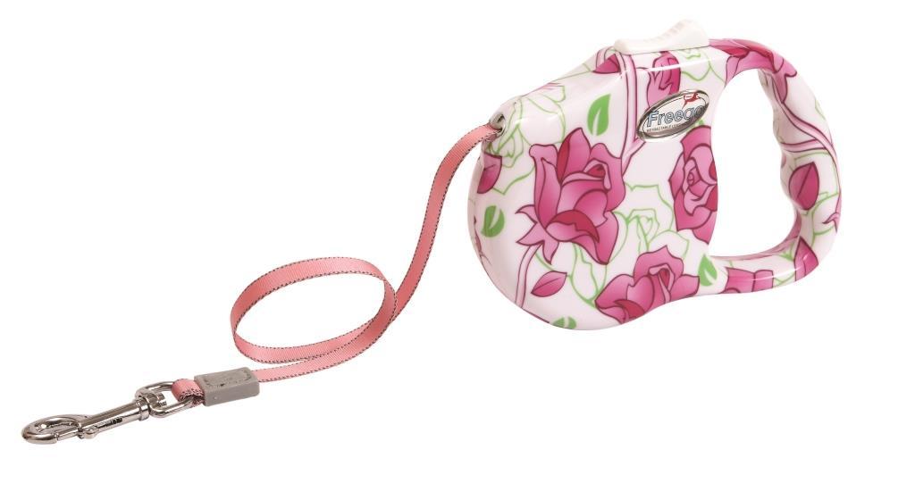 Поводок-рулетка Freego Розовый цветок для собак до 23 кг, размер M, цвет: белый, розовый, зеленый, 3 м53494Поводок-рулетка Freego Розовый цветок изготовлен из пластика и нейлона. Прочный пластиковый корпус белого цвета оформлен красочным цветочным рисунком. Выдвижная нейлоновая лента-поводок имеет хромированную застежку-карабин, с помощью которой надежно пристегивается к ошейнику. Поводок-рулетка Freego Розовый цветок - это необходимый, практичный и стильный атрибут для прогулок с вашей собачкой. Его длину можно зафиксировать с помощью специальной кнопки. Длина поводка: 3 м. Максимальная нагрузка: 23 кг.