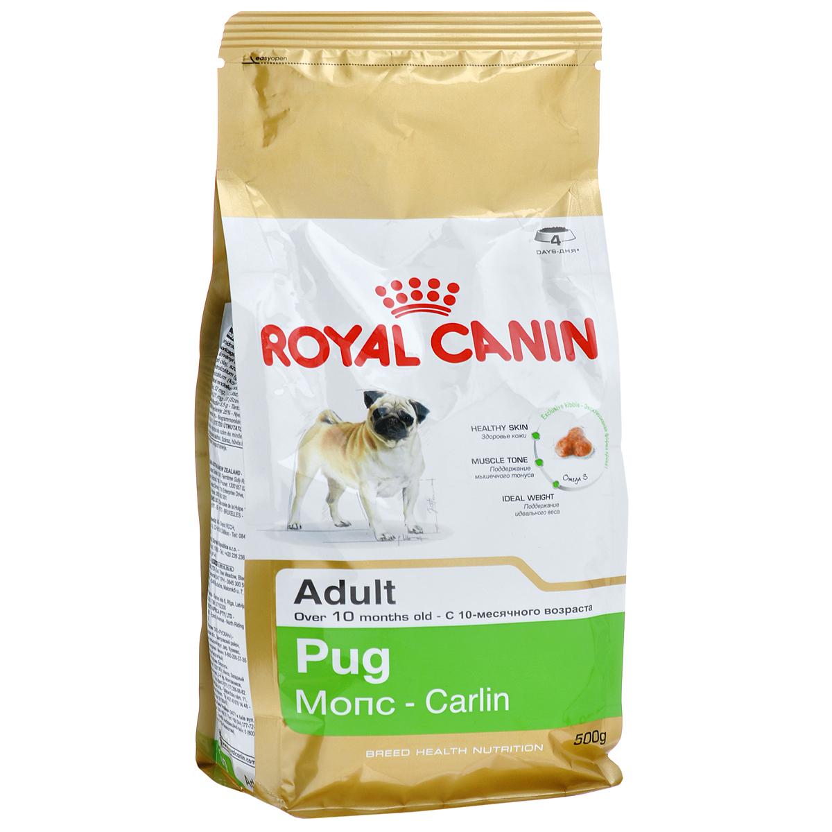 Корм сухой Royal Canin Pug Adult , для собак породы мопс от 10 месяцев, 500 г0120710Корм сухой Royal Canin Pug Adult  - полнорационное питание для собак породы мопс от 10 месяцев.Мопс — это истинно аристократическая порода. Очаровательные небольшие собаки издавна были любимцами знати благодаря своему спокойному нраву и сильной привязанности к хозяину. При подборе корма для мопсов важно учесть специфическое строение их челюсти: чаще всего обычные крокеты им очень неудобно захватывать и разгрызать, что приводит к нарушениям пищеварительной системы и мочеиспускательного канала.Здоровая кожа.Новая формула поддерживает кожу собаки в идеальном состоянии.Мышечный тонус.Специализированный корм для мопсов способствует поддержанию мышечного тонуса. Идеальный вес.Продукт способствует гармоничному росту при сохранении идеального веса собаки благодаря снижению уровня жиров. Особая форма крокетов.Крокеты имеют форму трилистника, вследствие чего собаке становится гораздо удобнее их захватывать. Состав: рис, дегидратированное мясо птицы, кукурузная мука, кукуруза, животные жиры, пшеничная мука, изолят растительного белка, кукурузный глютен, гидролизованные животные белки, свекольный жом, растительная клетчатка, микроэлементы, растительные масла (сои и бурачника лекарственного), рыбий жир, фруктоолигосахариды, L-лизин, DL-метионин, натрия полифосфат, таурин, гидролизованные ракообразные (источник глюкозамина), L-карнитин, гидролизованные хрящи (источник хондроитина). Добавки (в 1 кг): йод — 5,6 мг,селен — 0,27 мг,медь — 15 мг,железо — 185 мг,марганец — 82 мг,цинк — 235 мг,витамин A — 31000 МЕ,витамин D3 — 800 МЕ,витамин E — 600 мг,витамин C — 300 мг,витамин B1 — 27 мг,витамин B2 — 48,6 мг,витамин B3 — 482,8 мг,витамин B5 — 145,2 мг,витамин B6 — 75,7 мг,витамин B12 — 0,13 мг. Товар сертифицирован.
