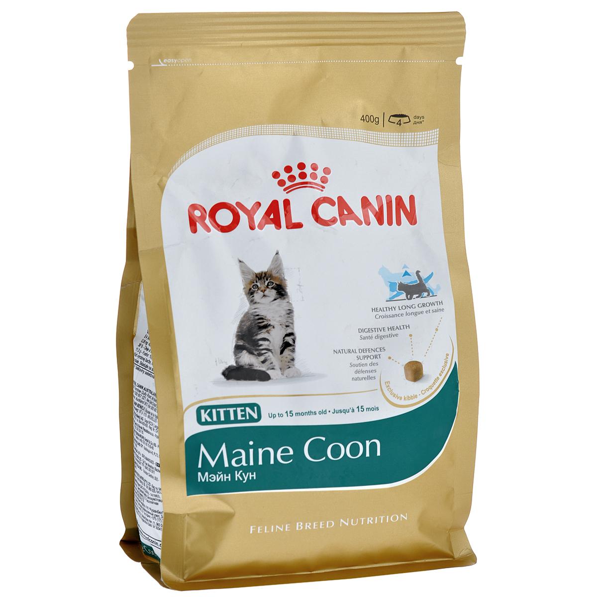 Корм сухой Royal Canin Maine Coon Kitten, для котят породы мейн-кун в возрасте от 3 до 15 месяцев, 400 г941Сухой корм Royal Canin Maine Coon Kitten - полнорационный корм для котят породы мейн-кун в возрасте от 3 до 15 месяцев. Фаза роста котят мейн-куна в силу их уникального экстерьера более продолжительна, чем у кошек других пород. Удивительный факт: трехмесячный мейн-кун весит около 2 кг — почти вдвое больше, чем котята других пород в этом возрасте! Длительный период роста. В силу своей особой комплекции котенок породы мейн-кун достигает зрелости только к 15 месяцам или даже позже. Длительный период роста означает, что диета для котят должна отвечать их специфическим потребностям в энергии: это обеспечит гармоничное и сбалансированное развитие. Для того чтобы обеспечить максимально сбалансированное развитие, следует заказать онлайн специальный корм, подходящий для этой породы. Чемпион по весу среди котят. Уже очень скоро котенок мейн-куна опережает по весу своих сверстников — представителей других пород кошек. Постепенно формируются массивные кости и мощные мышцы....