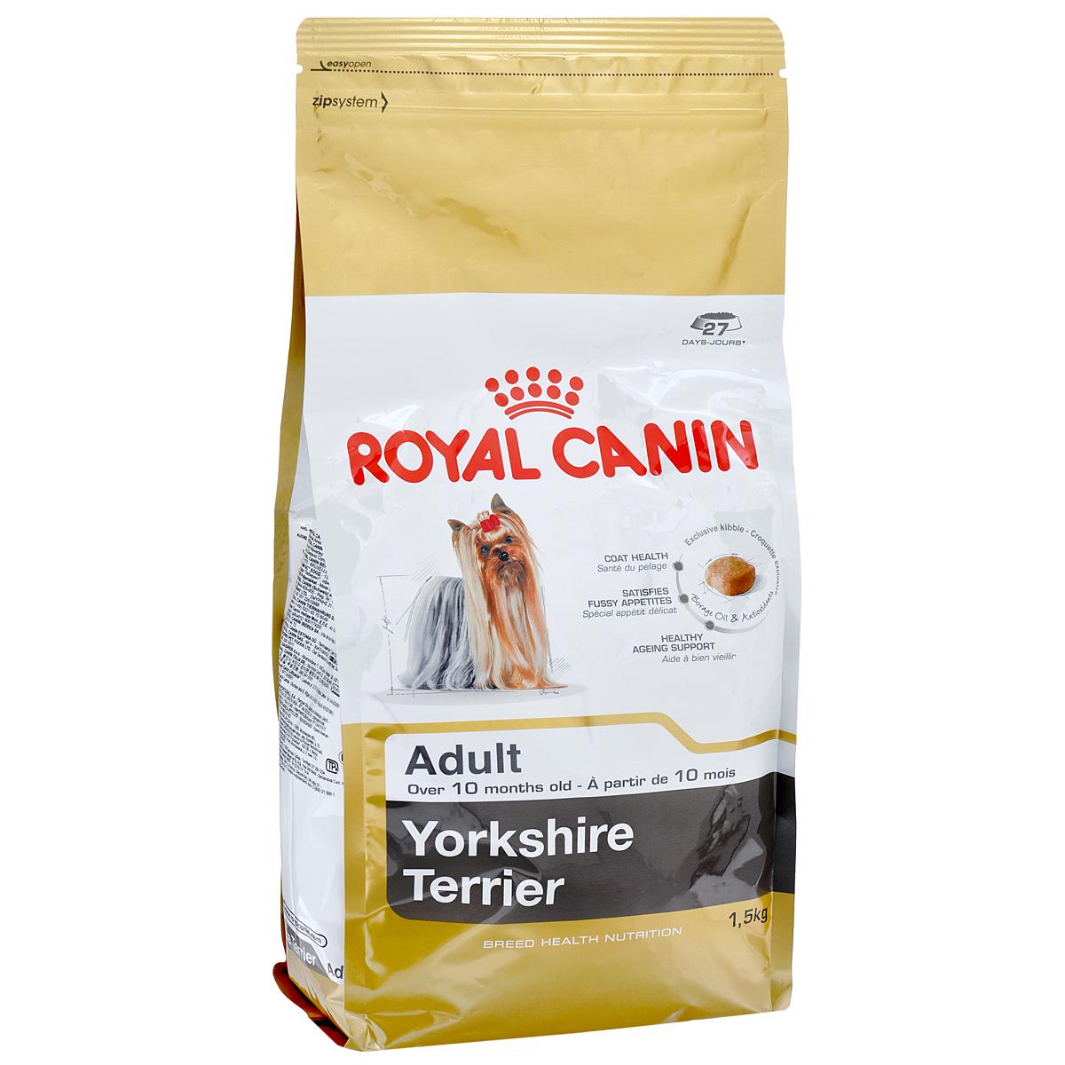 Корм сухой Royal Canin Yorkshire Terrier Adult, для собак породы йоркширский терьер в возрасте от 10 месяцев, 1,5 кг0120710Корм сухой Royal Canin Yorkshire Terrier Adult - полнорационный корм для собак породы йоркширский терьер в возрасте от 10 месяцев.Йоркширский терьер — это сказочное создание, которое очаровывает с первой минуты знакомства с ним. Тоненькие, хрупкие и изящные йорки в силу своей физиологии нуждаются в максимальном поступлении в организм аминокислот, необходимых для развития шерсти и ее быстрого роста. Многие корма для йорков имеют крокеты слишком крупного размера, тогда как продукция Royal Canin Yorkshire Terrier Adult разработана специально для небольших челюстей этих собак. Здоровая шерсть.Эта эксклюзивная формула поддерживает здоровье и красоту шерсти йоркширского терьера. Корм обогащен жирными кислотами Омега-3 (EPA и DHA) и Омега-6, маслом бурачника и биотином. Вкусовая привлекательность.Благодаря высокой вкусовой привлекательности корм способен удовлетворить потребностидаже самых привередливых питомцев. Долголетие.Особый комплекс с питательными веществами помогает сохранить здоровье собаки в зрелом возрасте и способствует долголетию.Профилактика образования зубного камня.Благодаря хелаторам кальция и специально подобранной текстуре крокет, которая оказывает чистящее воздействие, корм помогает ограничить образование зубного камня. Состав: дегидратированные белки животного происхождения (птица), рис, кукурузная мука, животные жиры, изолят растительных белков, свекольный жом, гидролизат белков животного происхождения, минеральные вещества, соевое масло, рыбий жир, дрожжи, фруктоолигосахариды, гидролизат дрожжей (источник мaннановых олигосахаридов), масло огуречника аптечного (0,1 %), экстракт бархатцев прямостоячих (источник лютеина).Добавки (в 1 кг): йод — 5,2 мг,селен — 0,28 мг,медь — 15 мг,железо — 166 мг,марганец — 73 мг,цинк — 218 мг,витамин A — 31000 МЕ,витамин D3 — 800 МЕ,витамин E — 600 мг,витамин C — 300 мг,витамин B1 — 27 мг,витамин B2