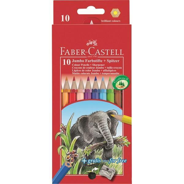 Цветные карандаши JUMBO с точилкой, набор цветов, в картонной коробке, 10 шт.610842Вид карандаша: цветной.Особенности: С точилкой.Материал: дерево.