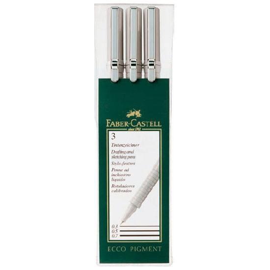 Капиллярные ручки ECCO PIGMENT, 0,3, 0,5, 0,7мм, в пластмассовом пенале, 3 шт.166003Цвет чернил: черный. Вид ручки: капиллярная. Материал: пластик и сталь.