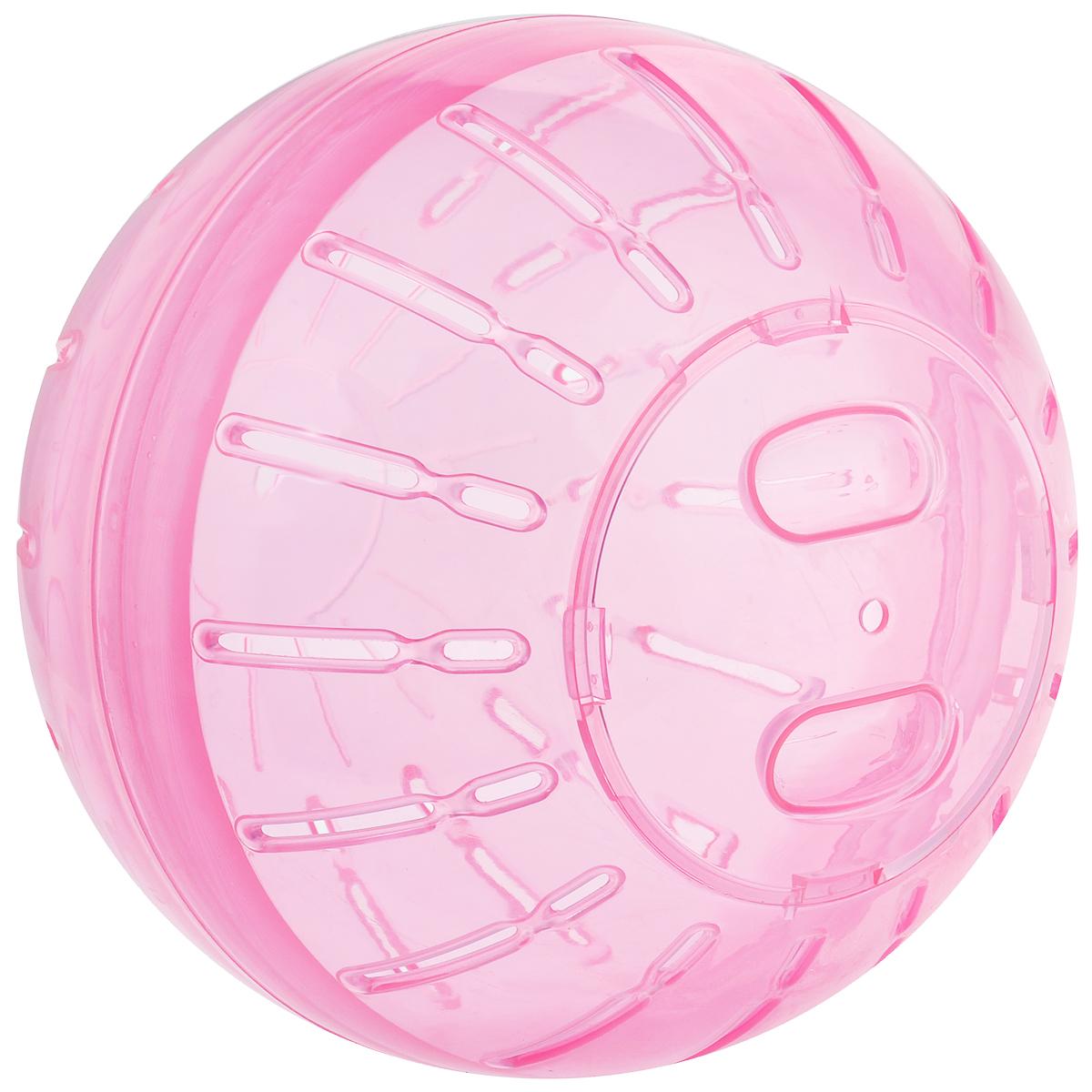 Игрушка для грызунов Triol Шар прогулочный, цвет: розовый, диаметр 19 смКл-5212Шар прогулочный Triol - это игрушка для грызунов, изготовленная из нетоксичного высококачественного пластика. Шар легко моется. Устойчивая конструкция с защелкивающимися дверцами обеспечит безопасность и предохранит вашего питомца от побега. Большие вентиляционные отверстия обеспечивают хорошую циркуляцию воздуха, а специально разработанные выступы для лап - удобство при передвижении. Прогулка в таком шаре обеспечит грызуну нагрузку, а значит, поможет поддержать хорошую физическую форму. Чтобы правильно подобрать шар, следует измерить длину животного: диаметр шара должен быть чуть больше, чем длина вашего питомца. Диаметр шара: 19 см.