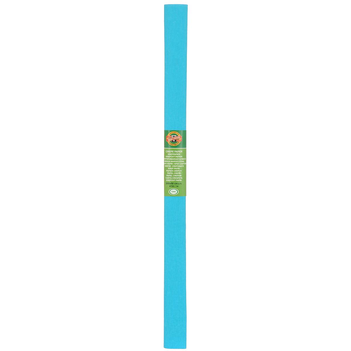 Бумага гофрированная Koh-I-Noor, цвет: голубой, 50 см x 2 м9755/14Гофрированная бумага Koh-I-Noor - прекрасный материал для декорирования, изготовления эффектной упаковки и различных поделок. Бумага прекрасно держит форму, не пачкает руки, отлично крепится и замечательно подходит для изготовления праздничной упаковки для цветов.