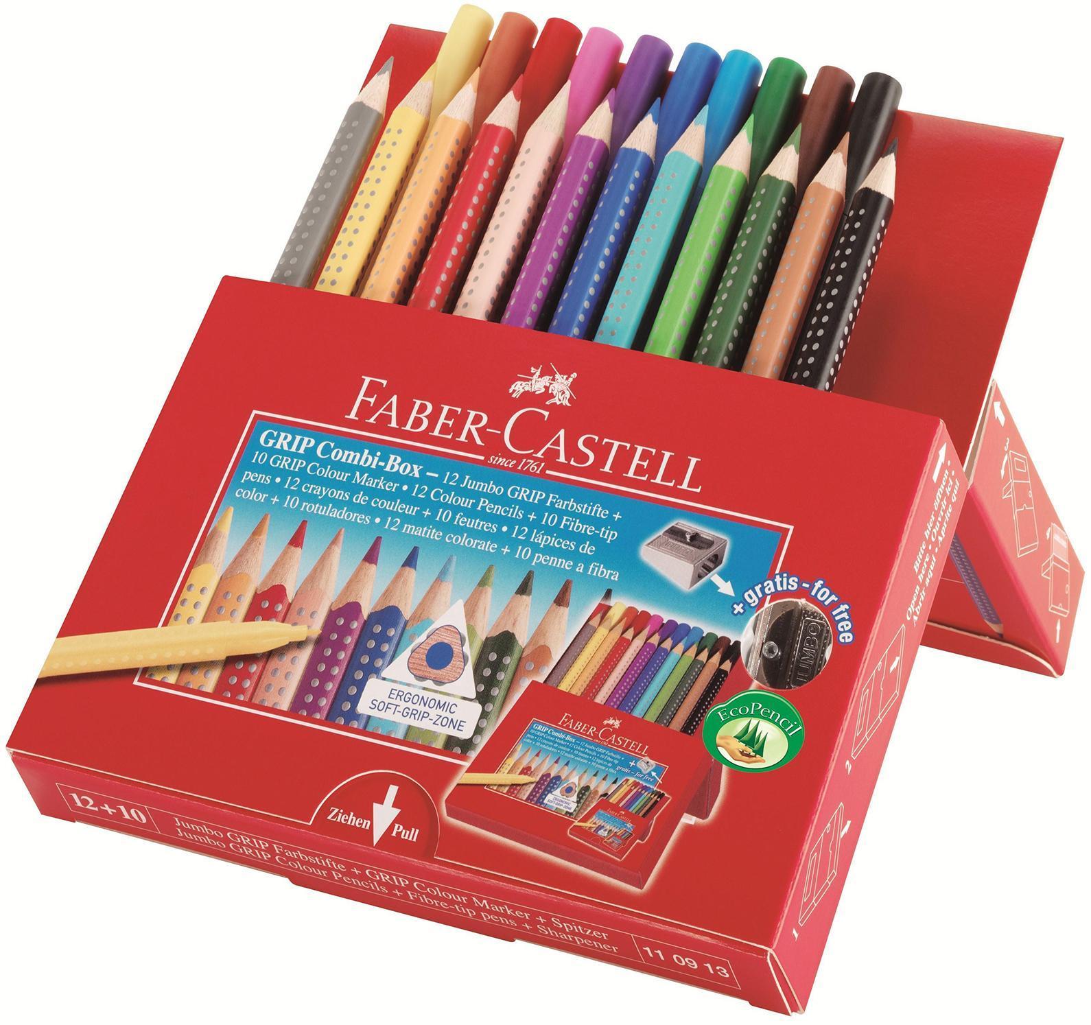 Цветные карандаши JUMBO GRIP + фломастеры и точилка в картонной коробке110913Вид карандаша: цветной. Особенности: С точилкой. Материал: дерево.