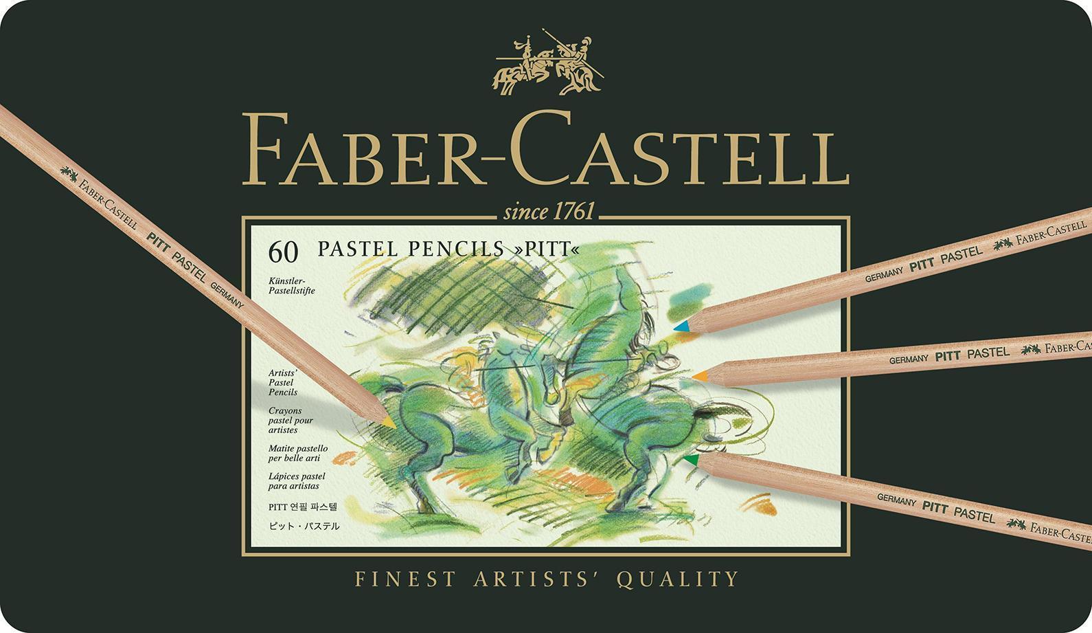 Пастельные карандаши PITT®, набор цветов, в металлической коробке, 60 шт.610842Вид карандаша: цветной.Материал: дерево.