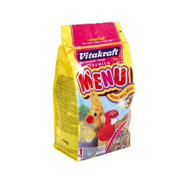 Корм для средних попугаев Vitakraft Menu, 1кг10621Основной корм для средних попугаев Vitakraft Menu полностью сбалансирован, обогащен минералами, витаминами и медом. Состав: злаковые, семена, минеральные вещества, орехи, растительные добавки, масла и жиры, мед. Анализ состава: 12% растительный белок, 12% растительный жир, 10,5% клетчатка, 6,5% зола, 11% влага. Витамины: А, D3, Е, В2, С, йод. Товар сертифицирован.