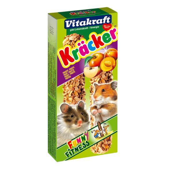 Крекеры для хомяков Vitakraft Kracker, фруктовые, 2 шт10638Крекер для хомяков Vitakraft Kracker, обогащенный фруктами, содержит высококачественные злаки, фрукты, белок, хлебные добавки. Поддерживает здоровье, жизненный тонус. Состав: злаки, семена, орехи, фрукты (0,4%), мед, лецитин. Количество в упаковке: 2 шт. Товар сертифицирован.