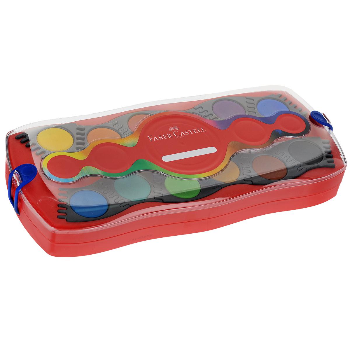 Акварельные краски Faber-Castell Connector, 24 штFS-54103Акварельные краски Faber-Castell Connector идеально подойдут как для детского художественного творчества, так и для изобразительных и оформительских работ. Краски легко размываются, создавая прозрачный цветной слой, отлично смешиваются между собой, не крошатся и не смазываются, быстро сохнут.В наборе 24 краски ярких, насыщенных цветов, а также тюбик с белой краской и кисть. Каждый цвет представлен в основе круглой формы, располагающейся в отдельной ячейке, которую можно перемещать либо комбинировать с нужными красками, что делает процесс рисования легким и удобным. Коробка представляет собой два поддона для ячеек с красками с отсеками для кисти и белой краски, а крышка - палитру. Отличный подарок для любителя рисовать акварелью! Рекомендуемый возраст: от 8 лет.