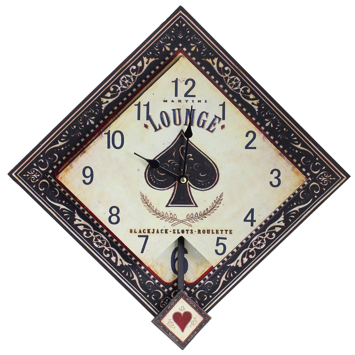 Часы настенные Black Jack, кварцевые, с маятником. 30378300194_сиреневый/грушаНастенные кварцевые часы Black Jack изготовлены из МДФ. Часы имеют форму ромба. Корпус оформлен узорами и изображением карточных мастей. Тип индикации - арабские цифры. Часы имеют две стрелки - часовую и минутную. Часы оснащены маятником. С задней стороны имеется отверстие для подвешивания на стену. Изящные часы красиво и оригинально оформят интерьер дома или офиса.Часы работают от одной батарейки типа АА (в комплект не входит).Размер часов (ДхШхВ) (без учета маятника): 42 см х 42 см х 4 см.Размер циферблата: 30 см х 30 см.Внимание! Уважаемые клиенты, обращаем ваше внимание на тот факт, что циферблат часов не защищен стеклом!