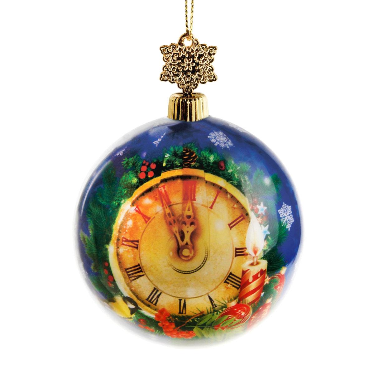 Новогоднее подвесное украшение Sima-land Шар, диаметр 8 см. 279333NLED-405-0.5W-MНовогоднее подвесное украшение Sima-land выполнено из высококачественного пенопласта в форме шара и покрыто цветной пленкой. Шар декорирован изображением курантов. С помощью специальной петельки украшение можно повесить в любом понравившемся вам месте. Но, конечно, удачнее всего такой набор будет смотреться на праздничной елке.Елочная игрушка - символ Нового года. Она несет в себе волшебство и красоту праздника. Создайте в своем доме атмосферу веселья и радости, украшая новогоднюю елку нарядными игрушками, которые будут из года в год накапливать теплоту воспоминаний. Материал: пенопласт, пленка, текстиль, пластик.