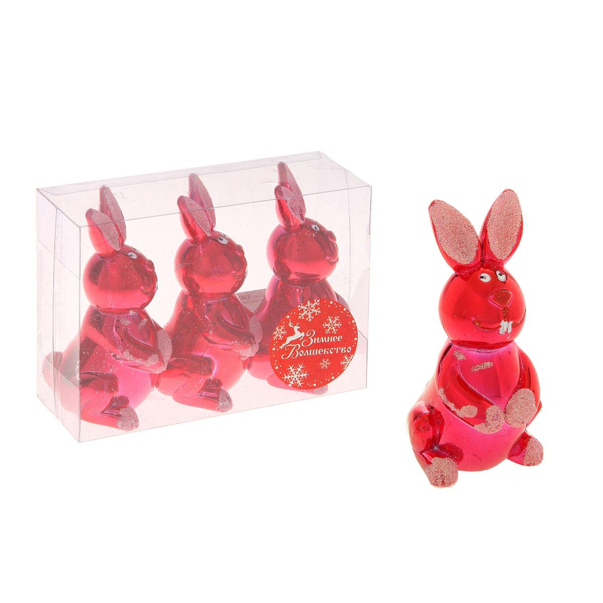 Набор новогодних украшений Sima-land Зайка, цвет: красный, 3 шт334387