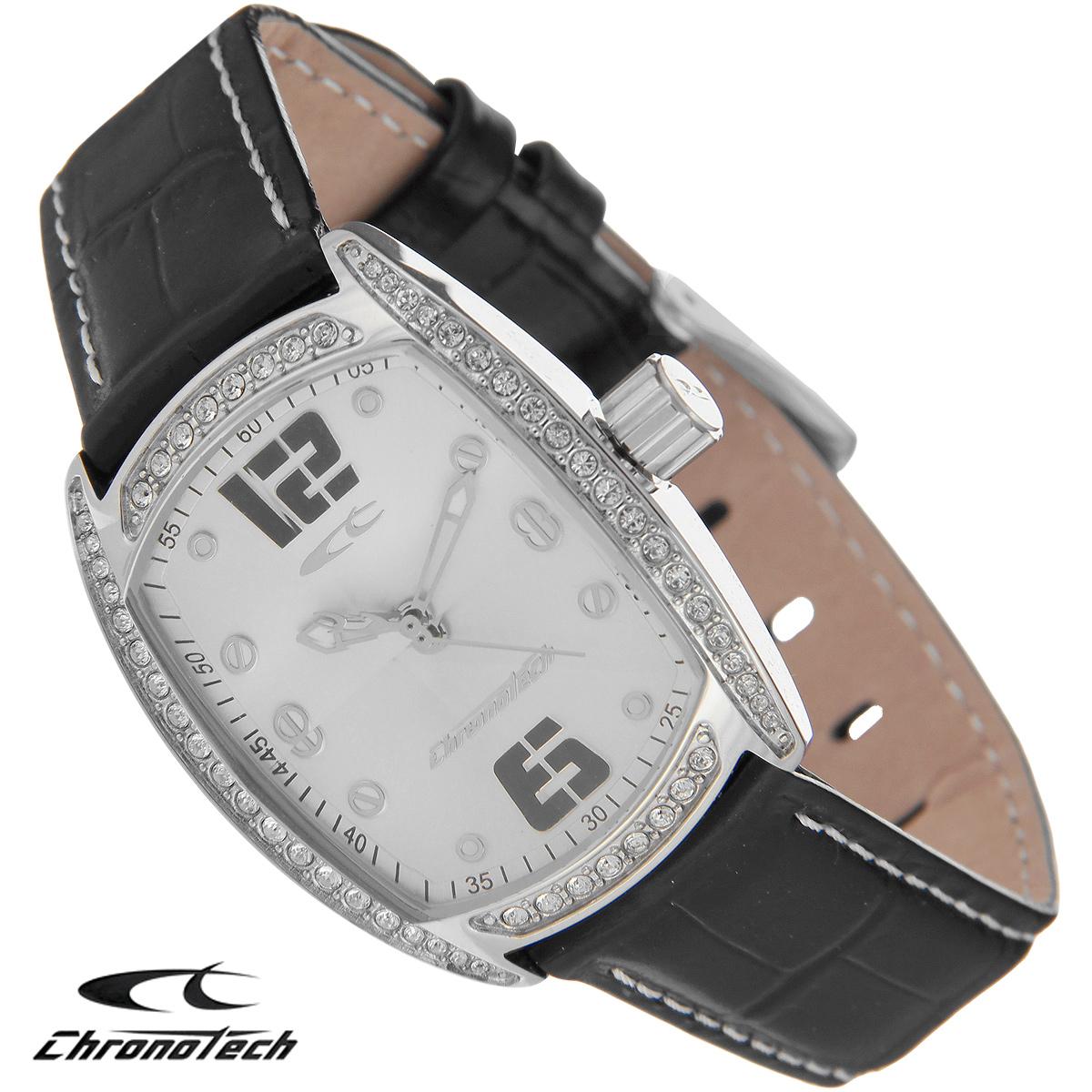 Часы женские наручные Chronotech, цвет: серебристый, черный. RW0001BP-001 BKЧасы Chronotech - это часы для современных и стильных людей, которые стремятся выделиться из толпы и подчеркнуть свою индивидуальность. Корпус часов выполнен из нержавеющей стали и по контуру циферблата оформлен стразами. Циферблат оформлен отметками и защищен минеральным стеклом. Часы имеют три стрелки - часовую, минутную и секундную. Стрелки светятся в темноте. Ремешок часов выполнен из натуральной кожи и застегивается на классическую застежку. Часы упакованы в фирменную коробку с логотипом компании Chronotech. Такой аксессуар добавит вашему образу стиля и подчеркнет безупречный вкус своего владельца.Характеристики: Размер циферблата: 2,5 см х 3 см.Размер корпуса: 3 см х 3,8 см х 0,9 см.Длина ремешка (с корпусом): 23 см.Ширина ремешка: 1,6 см.