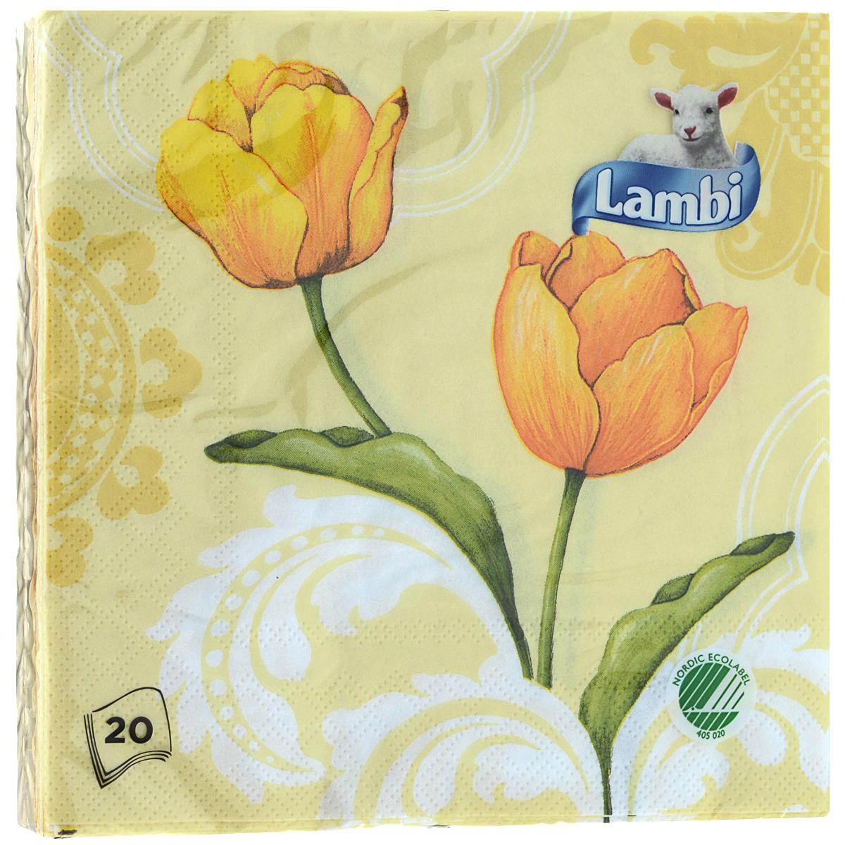Салфетки Lambi Желтые тюльпаны, трехслойные, 33 см х 33 см, 20 шт2271Трехслойные бумажные салфетки Lambi Желтые тюльпаны, изготовленные из экологически чистого, высококачественного сырья - 100% целлюлозы, станут отличным дополнением праздничного стола. Они отличаются необыкновенной мягкостью и прочностью. Яркий дизайн салфеток с цветочным принтом придется вам по душе и подарит положительные эмоции. Товар сертифицирован.