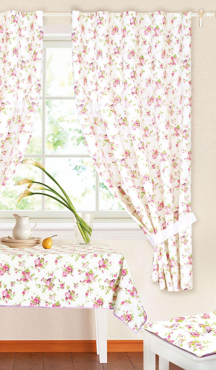 Комплект штор Garden, на ленте, цвет: сиреневый, размер 145* 180 см. c 9162 w191 v11c 9162 w191 v11Роскошный комплект тюлевых штор Garden, выполненный из вуали (полиэстера), великолепно украсит любое окно. Комплект состоит из двух штор, декорированных цветочным принтом. Воздушная ткань и приятная, приглушенная гамма привлекут к себе внимание и органично впишутся в интерьер помещения. Этот комплект будет долгое время радовать вас и вашу семью! Шторы крепятся на карниз при помощи ленты, которая поможет красиво и равномерно задрапировать верх. Шторы можно зафиксировать в одном положении с помощью двух подхватов. В комплект входит: Штора: 2 шт. Размер (Ш х В): 145 см х 180 см. Подхват: 2 шт. Размер (Д х Ш): 74 см х 5 см.