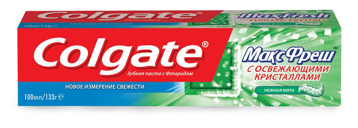 Зубная паста Colgate МаксФреш, нежная мята, 100 млFCN89272Зубная паста Colgate МаксФреш с фтором и отбеливающим кристаллами освежает дыхание, отбеливает зубы и борется с кариесом. Характеристики: Объем: 100 мл. Производитель: Китай. Товар сертифицирован.