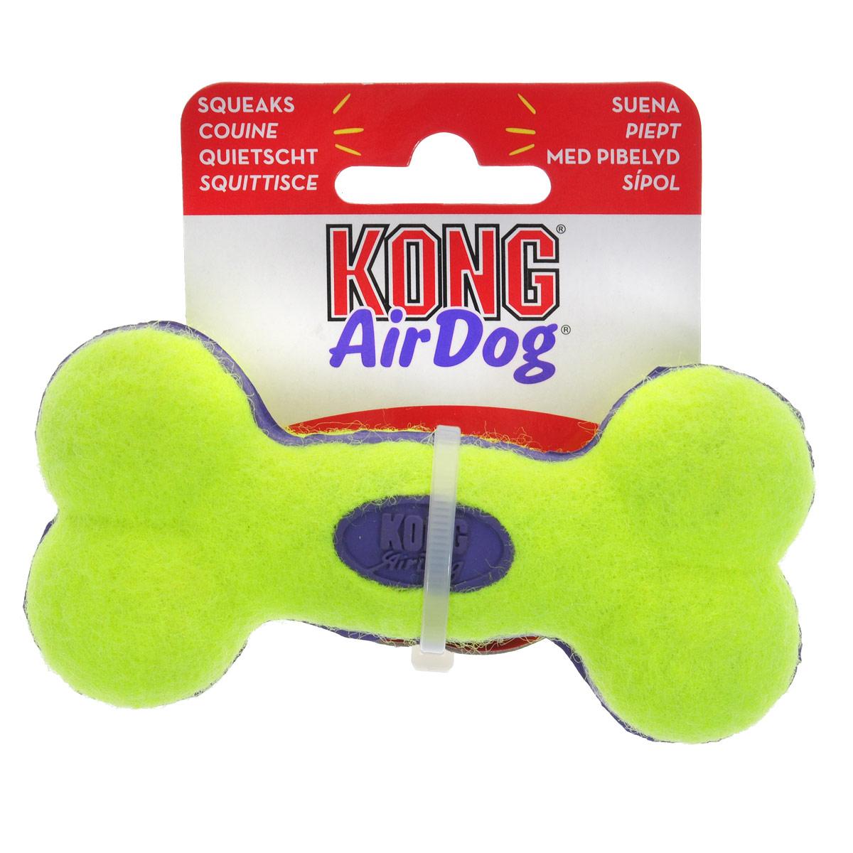 Игрушка для собак Kong Air Косточка. ASB3ASB3Игрушка для собак Kong Air Косточка предназначена для собак мелких пород весом от 1 до 10 кг. Эта игрушка - на 100% настоящие теннисные мячи в различных забавных формах и размерах. Такой мячик имеет непредсказуемую траекторию при отскакивании от земли и может плавать на поверхности воды. Игрушка выполненная из материала, не вредящего зубам собаки в форме косточки, при надавливании или захвате пастью пищит.
