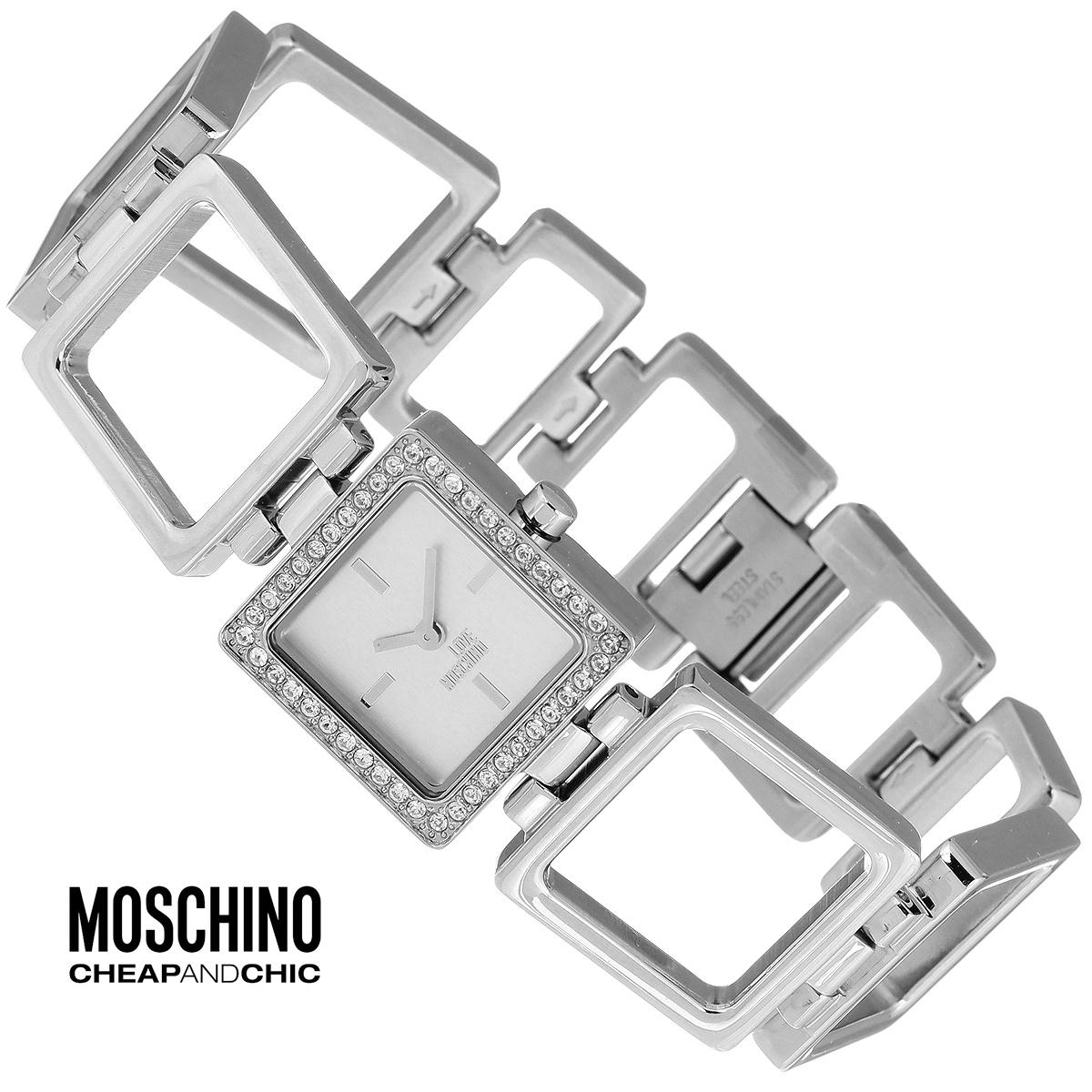 """Часы женские наручные Moschino, цвет: серебристый. MW0462MW0462Наручные часы от известного итальянского бренда Moschino - это не только стильный и функциональный аксессуар, но и современные технологи, сочетающиеся с экстравагантным дизайном и индивидуальностью. Часы Moschino оснащены кварцевым механизмом. Корпус выполнен из высококачественной нержавеющей стали и по контуру циферблата декорирован стразами. Циферблат с отметками оформлен надписью """"Love Moschino и защищен минеральным стеклом. Часы имеют две стрелки - часовую и минутную. Браслет часов выполнен из нержавеющей стали в виде квадратных звеньев и имеет надежную застежку. Часы упакованы в фирменную металлическую коробку с логотипом бренда. Часы Moschino благодаря своему уникальному дизайну отличаются от часов других марок своеобразными циферблатами, функциональностью, а также набором уникальных технических свойств. Каждой модели присуща легкая экстравагантность, самобытность и, безусловно, великолепный вкус. Характеристики: ..."""