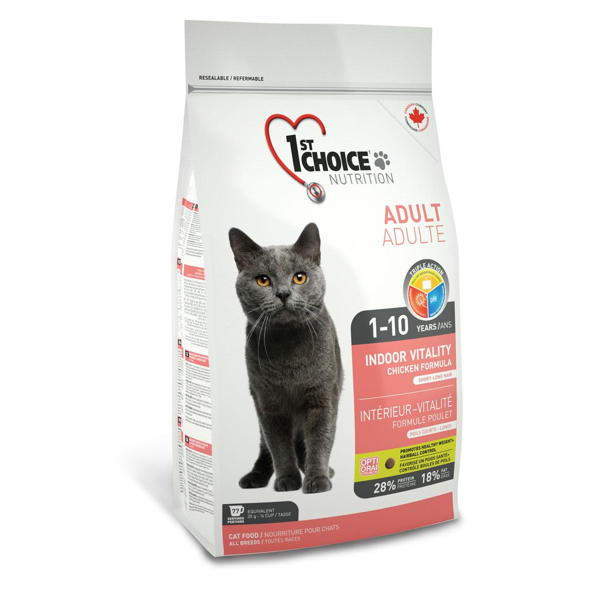 Корм сухой 1st Choice Adult для живущих в помещении взрослых кошек, с курицей, 907 г56664Сухой корм 1st Choice Adult - идеальная формула для домашних кошек со специальными тщательно отобранными ингредиентами. Помогает сохранить идеальную кондицию и оптимальный вес. Идеальный рН-баланс для здоровья мочевыделительной системы. Содержит экстракт юкки Шидигера, которая связывает аммиак и уменьшает запах экскрементов. Состав: свежая курица 17%, мука из мяса курицы 17%, рис, гороховый протеин, куриный жир, сохраненный смесью натуральных токоферолов (витамин Е), мякоть свеклы, коричневый рис, специально обработанные ядра ячменя и овса, сушеное яйцо, гидролизат куриной печени, цельное семя льна, жир лосося, сушеная мякоть томата, клетчатка гороха, калия хлорид, лецитин, кальция карбонат, холина хлорид, соль, кальция пропионат, натрия бисульфат, таурин, DL- метионин, L-лизин, экстракт дрожжей (источник маннан-олигосахаридов), железа сульфат, аскорбиновая кислота (витамин С), экстракт цикория (источник инулина), цинка оксид, натрия селенит, альфа-токоферол ацетат (витамин...
