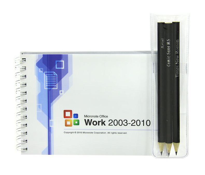 Блокнот Micronote Office с карандашами0101014Оригинальный блокнот Micronote Office - послужит прекрасным местом для памятных записей, любимых стихов и многого другого. Обложка блокнота выполнена в стиле текстового редактора Word. Внутренний блок выполнен из белой бумаги, оформленной в виде интерфейса Word. К блокноту прилагается три простых карандаша. Такой блокнот вызовет улыбку у каждого, кто его увидит, а также станет отличным подарком для ваших близких и друзей. Характеристики: Материал: картон, бумага, дерево. Размер блокнота: 10,5 см х 14,5 см х 1 см. Длина карандаша: 13,5 см. Размер упаковки: 13,5 см х 16 см х 2 см. Производитель: Россия.