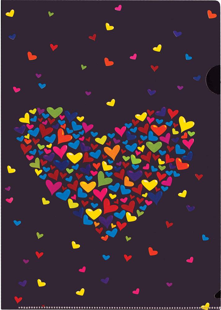 Папка-уголок Centrum Сердце, цвет: черный. Формат А4, 5 штFS-36054Папка-уголок Centrum Сердце - это удобный и практичный инструмент, предназначенный для хранения и транспортировки рабочих бумаг и документов формата А4. Папка изготовлена из плотного глянцевого пластика, оформлена красочным изображением разноцветных сердечек в форме большого сердца. В комплект входят 5 папок формата А4. Папка-уголок - это незаменимый атрибут для студента, школьника, офисного работника. Такая папка надежно сохранит ваши документы и сбережет их от повреждений, пыли и влаги.