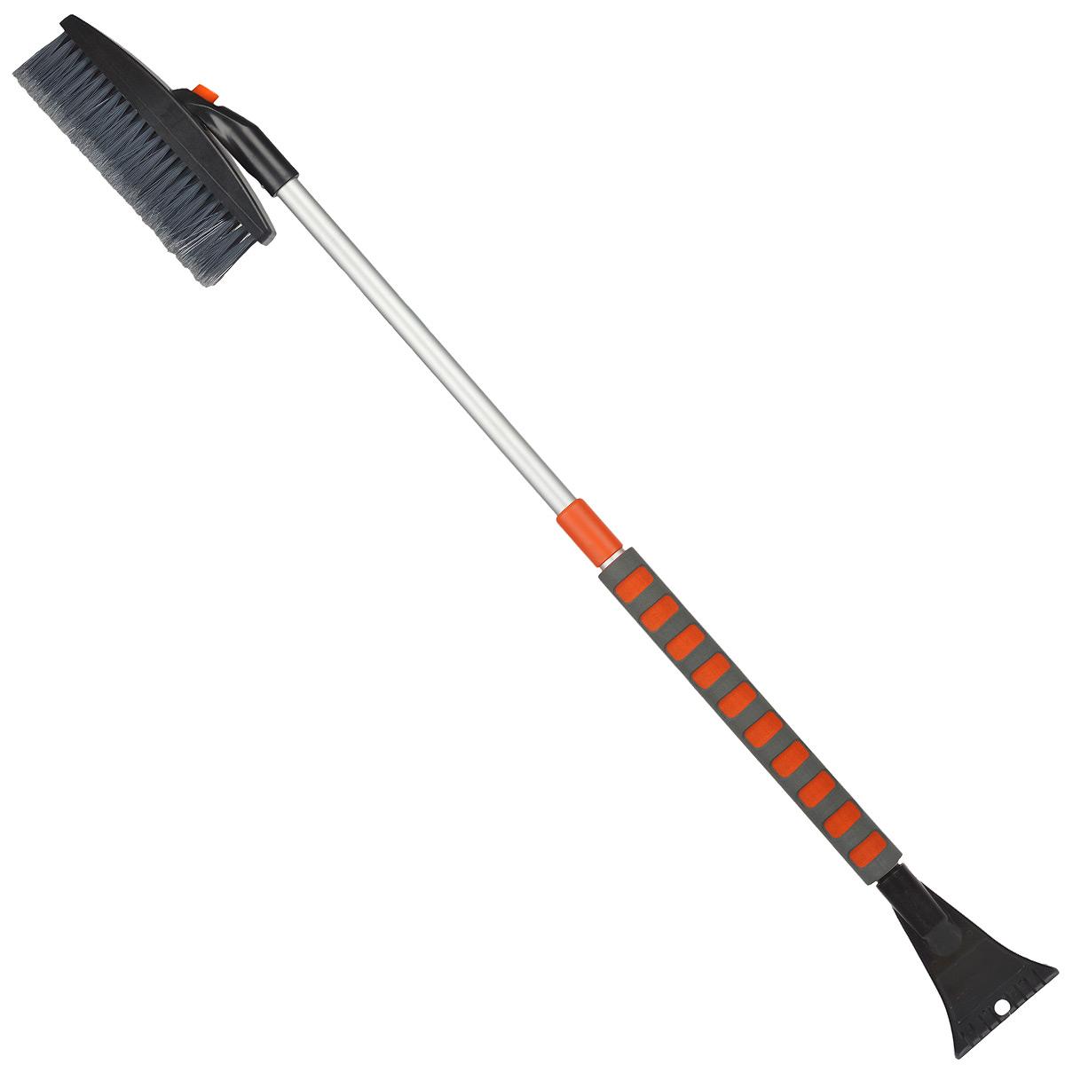 Щетка-сметка для снега Stels, со скребком, телескопическая, 82-110 см55313Щетка-сметка Stels оснащена усиленной рукояткой из алюминиевого сплава с удлиненным мягким держателем. Густая распушенная щетина для бережной очистки снега с поверхности. Инструмент имеет мощный скребок с зубьями для дробления льда и кнопку для регулировки горизонтального/вертикального положения щетки.